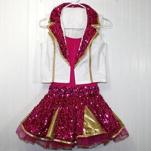 2 Piece Pink Gold Vest Dance Ballerina Costume
